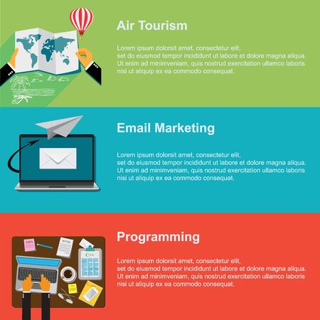 web marketing: air tourism, email marketing, programming, vector web design Illustration