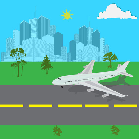 Airplane, landing, vector, illustration