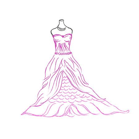 pink dress: pink, dress, sketch, vector illustration on white background Illustration