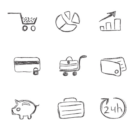 bank manager: business, icon, set, sketch, hand drawing, vector Illustration