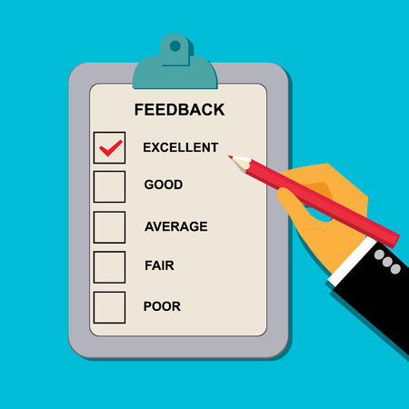 vector illustration of feedback evaluation form in flat style for web Çizim