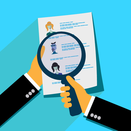 analyzing: Analyzing applicants resume, flat design vector illustration Illustration