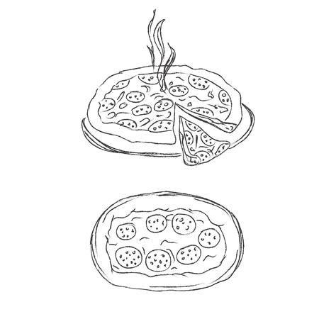 Pizza, sketch, vector, illustration
