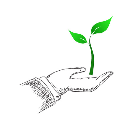 green, plant, growing, hand, sketch, vector, illustration