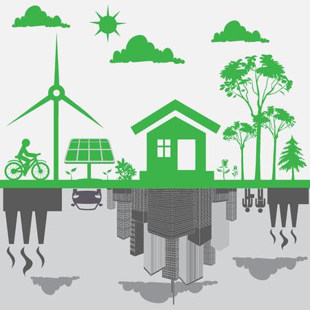 Sostenible, el desarrollo, el concepto, la energía renovable, vector Foto de archivo - 55412245