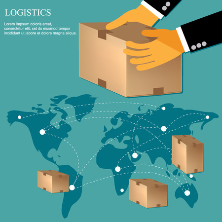 send: international delivery concept in flat design, vector