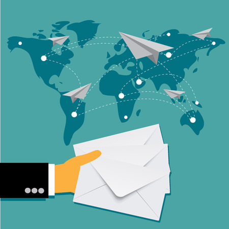 mail delivery: business mail delivery concept in flat design, vector Illustration
