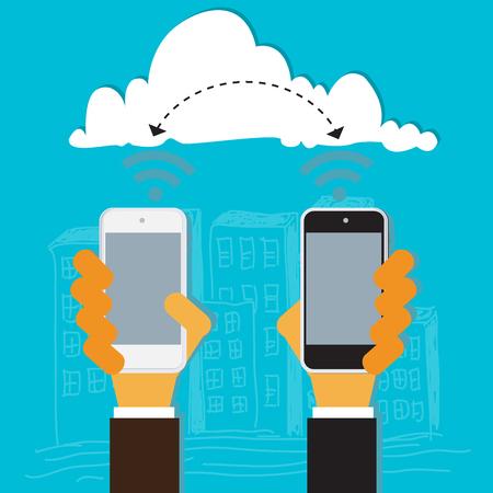 wireless signal: businessmen, exchange, information, vector, illustration Illustration