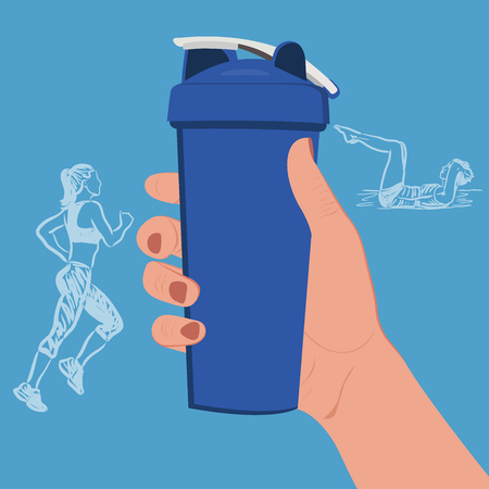 muscle gain: hand holding protein shaker with sketch fitness icons, vector illustration