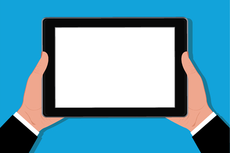 woman tablet: Hands holding tablet, vector illustration