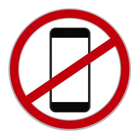 Geen mobiele telefoon teken, vector illustratie Stock Illustratie