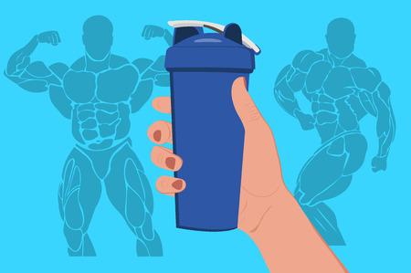 SHAKER: hand holding protein shaker, vector illustration