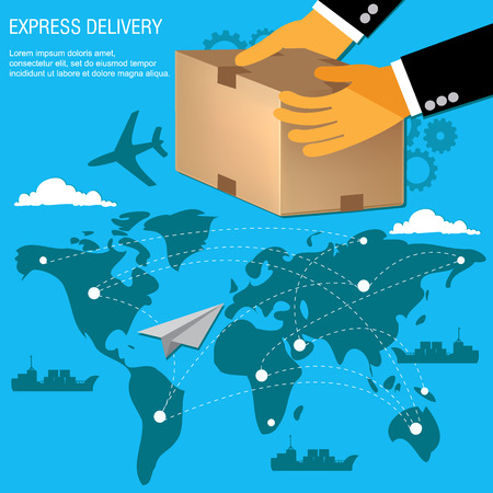 international delivery concept in flat design, vector