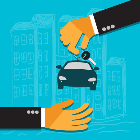 hand of the seller holds key for car and gives to buyer, flat Illustration