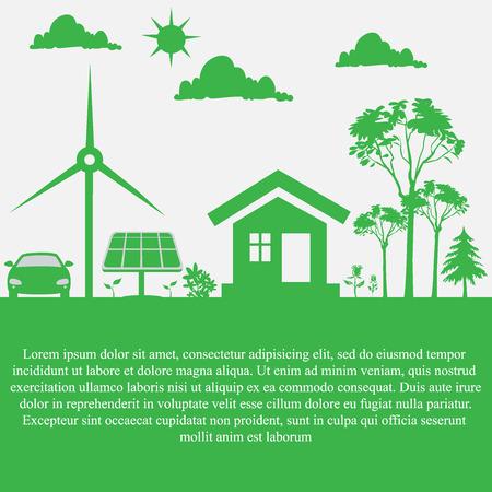 sustainable, development, concept, renewable energy, vector Illustration