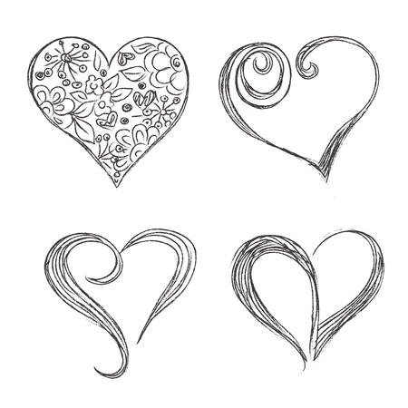corazones, conjunto, mano, dibujado, bosquejo, vector, illuatration