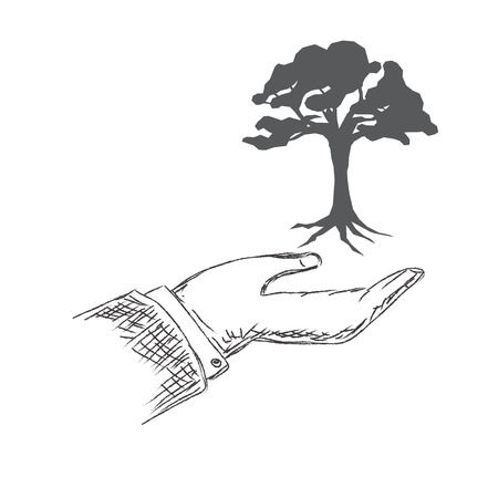recycling campaign: hand holding tree, sketch, vector, illustration