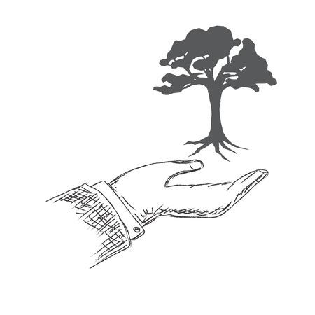 hand holding tree, sketch, vector, illustration
