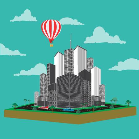 Urban landscape, day, vector, illustration, flat Illustration