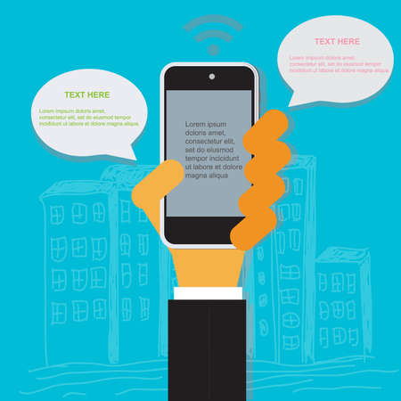 cellphone in hand: Cloud, computing, concept, hand, cellphone, flat, vector