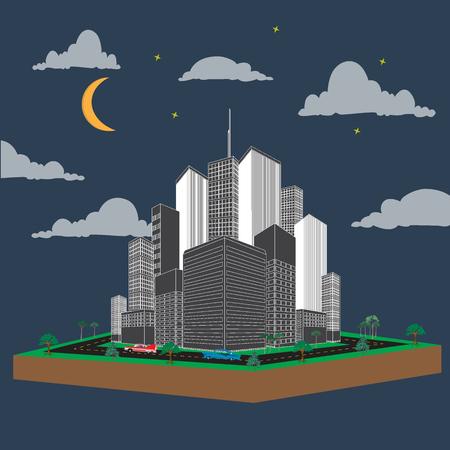 Urban landscape, night, vector, illustration, flat Illustration