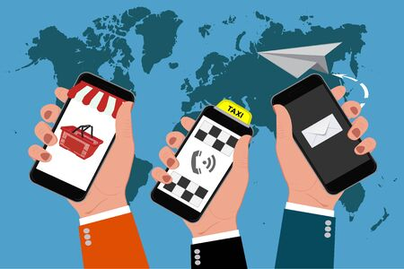 cellphones: hands holding cellphones, online business, vector illustration