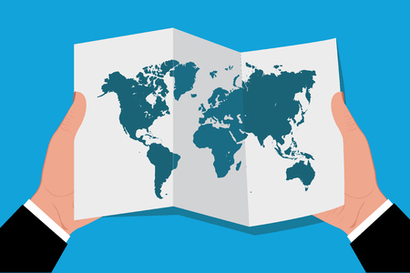 hands holding world map in flat style, vector illustration Illustration