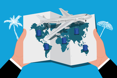 airplane around the world concept travel, hands holding world map, vector illustration