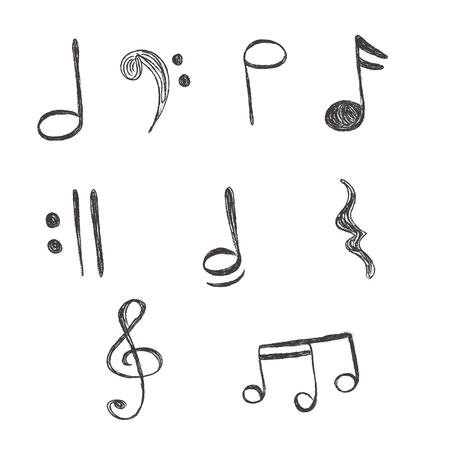 crotchets: Music, Notes, vector, illustration, hand drawing Illustration