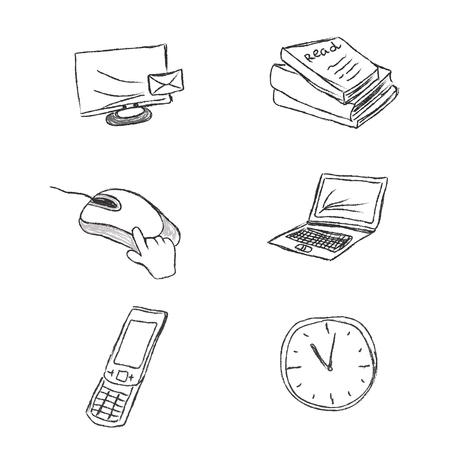 storage device: business, icon, set, sketch, hand drawing, vector, illustration Illustration