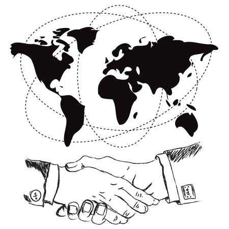 illustrated globes: Handshake, illustration, vector, flat, design