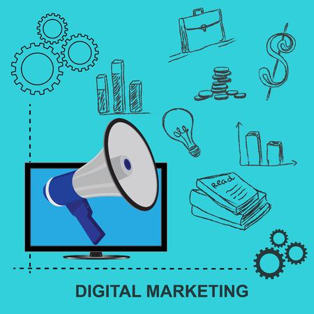 merchant: flat, design, digital, marketing, concept, vector, illustration Illustration