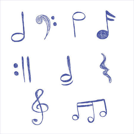 music notes vector: Music, Notes, vector, illustration, hand drawing Illustration