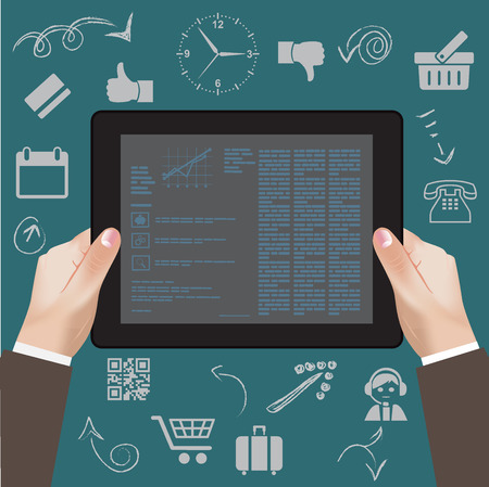 tablet pc in hand: tablet, mobile, pc, app, developer, hand, programming, interface, content, program, user, sign, flat, icon, work, media, style, build, market, symbol, finger, social, modern, design, global, online, button, network, concept, digital, business, internet, d Illustration
