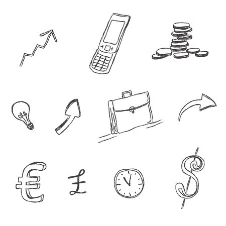 storage device: business, icon, set, sketch, hand drawing, vector, illustration Illustration