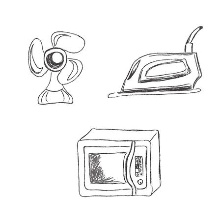 Set, household, appliances, vector, illustration