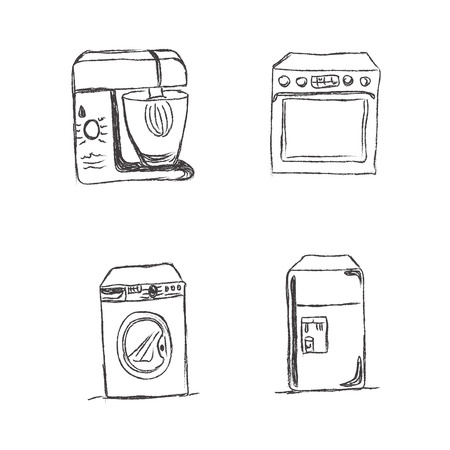 kitchen appliances: Set, kitchen, appliances, sketch, vector, illustration