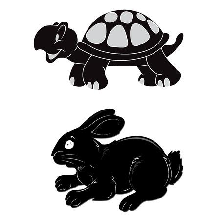 Konijn, schildpad, snelheid, vector, illustratie