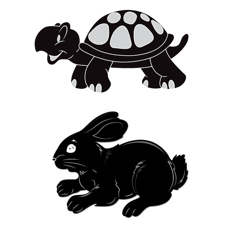Rabbit, turtle, speed, vector, illustration Иллюстрация