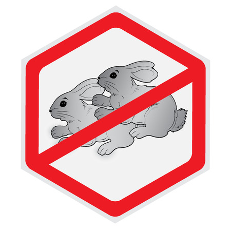 Rabbits, no, sex, sign, vector, illustration, hexagon