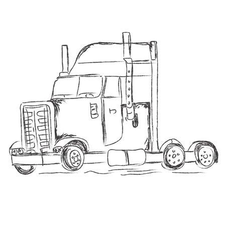 motor de carro: cami�n, dibujo, mano, dibujos, vector, ilustraci�n