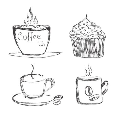 Kaffee, Illustration, Skizze, Vektor, Standard-Bild - 55681561