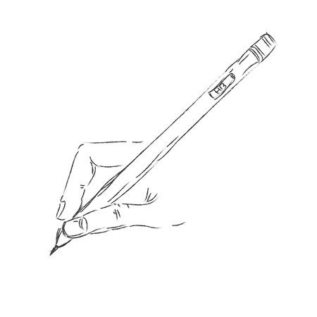 hand pen: hand, drawing, speech, speak, vector, pen, icon, pencil Illustration