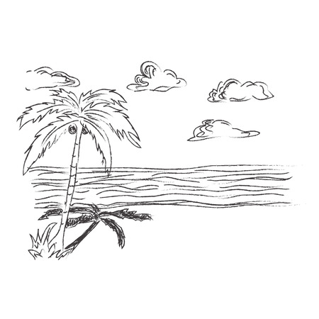 Tropisch, strand, schets, vector, illustratie