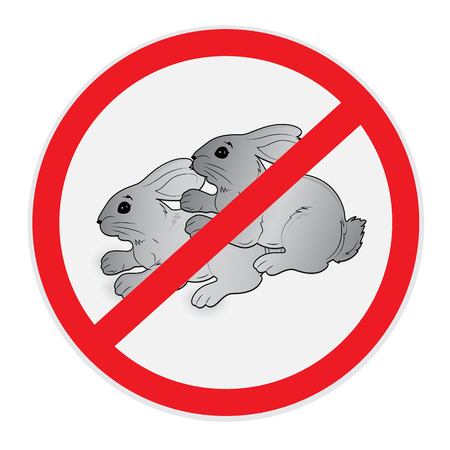 sex traffic: Rabbits, no, sex, sign, vector, illustration