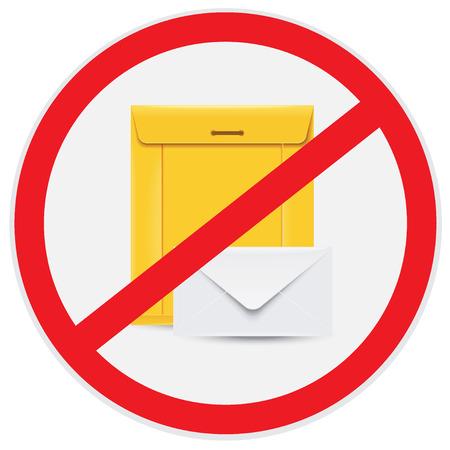 No, mail, sign Иллюстрация