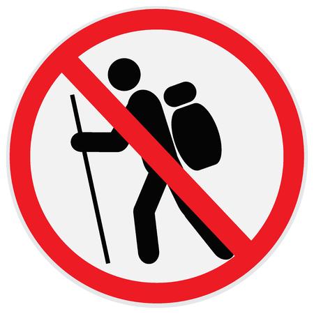No, hiking, sign Vectores