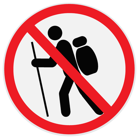 No, hiking, sign Illustration
