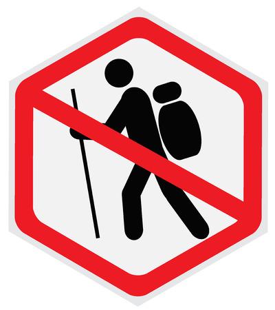 Non, randonnée, signe Banque d'images - 55682727