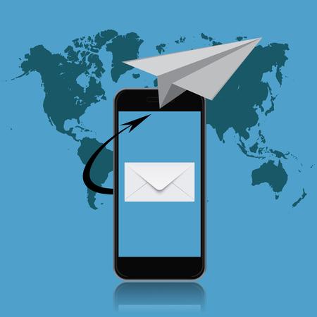 email marketing, smartphone, vector illustration Illustration